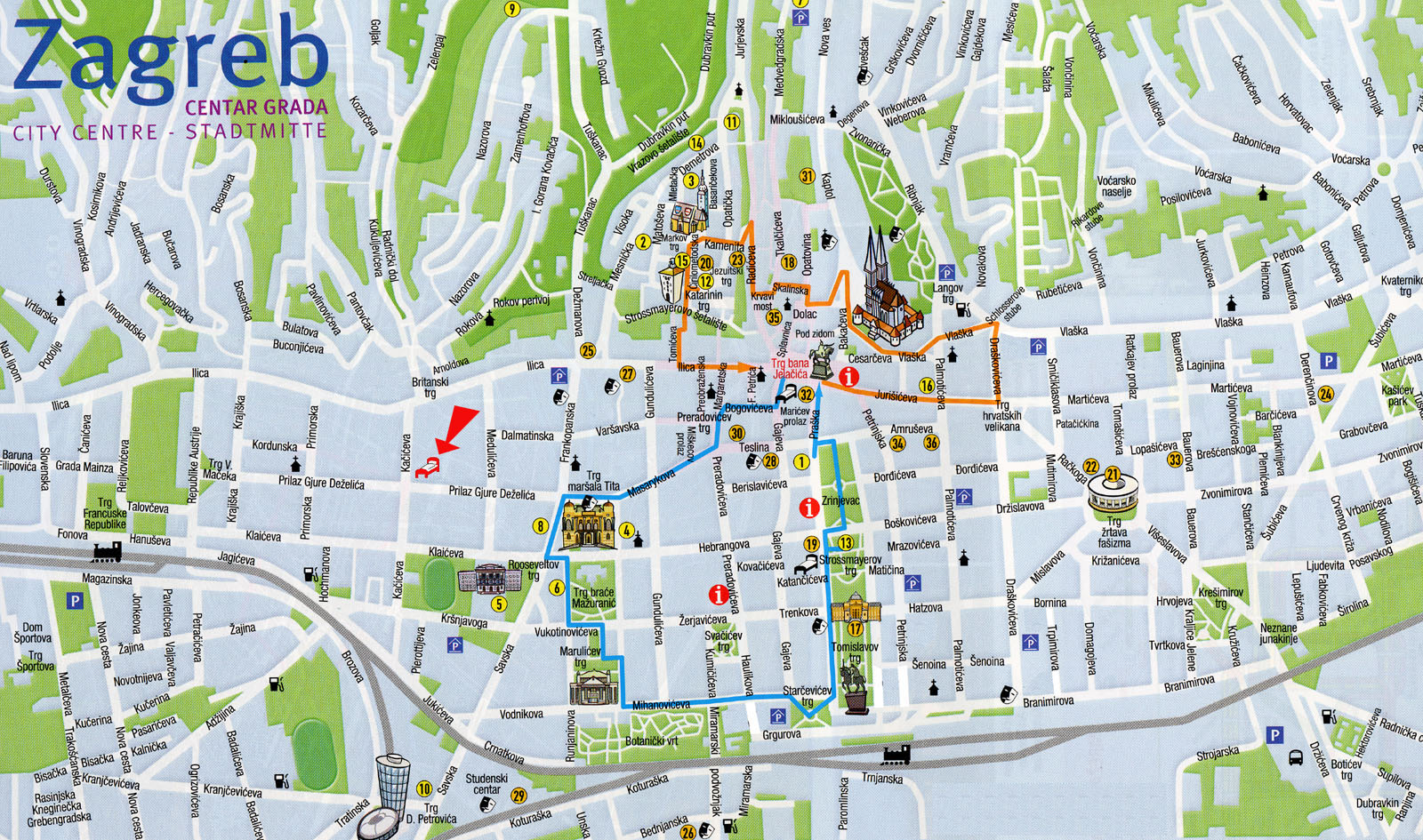 Zagreb Croatia Tourist Map Zagreb Croatia mappery – Croatia Tourist Map