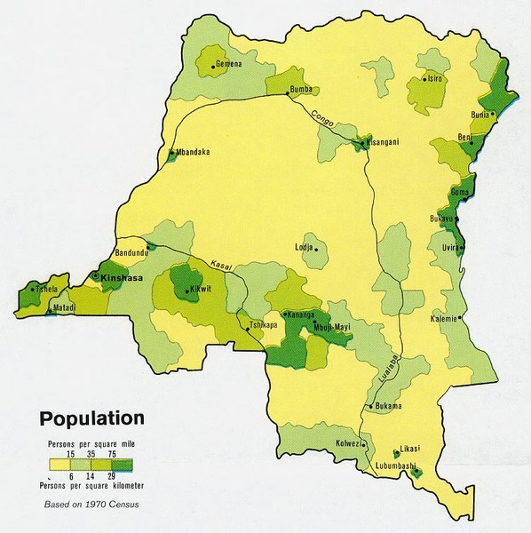 Zaire Population Map