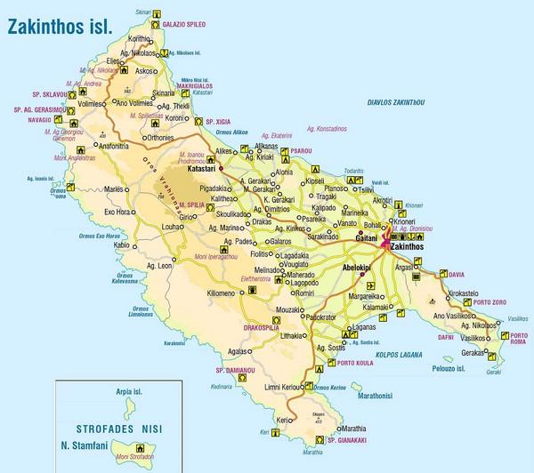 Zakinthos Tourist Map Zakinthos Greece Mappery
