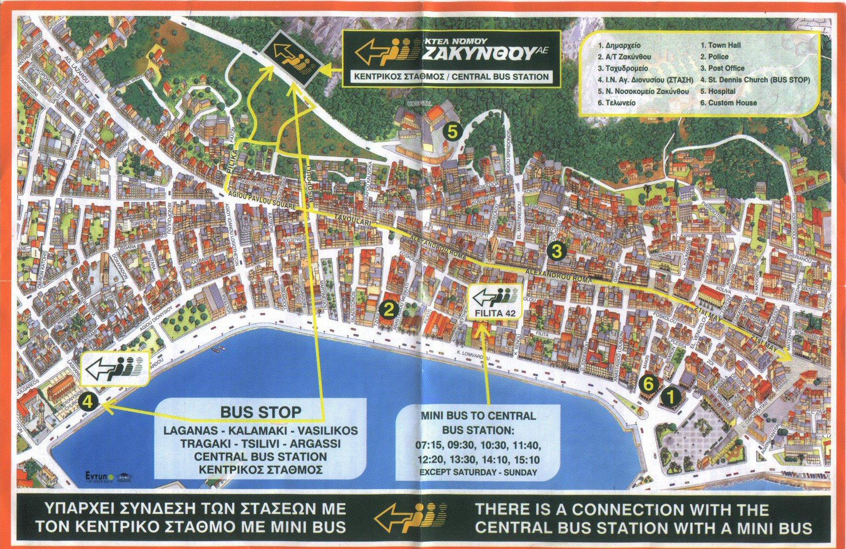 Zakynthos City Tourist Map Zakynthos City mappery