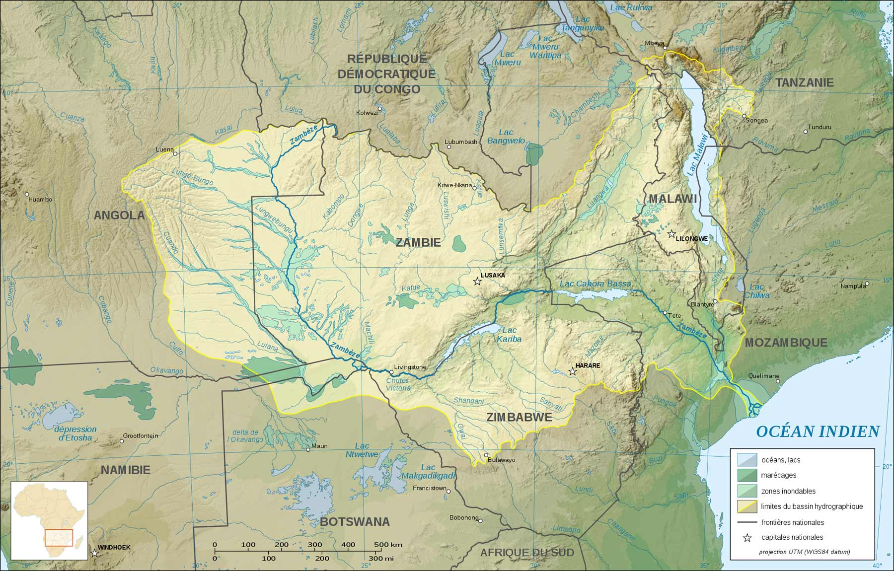 Zambezi River Basin Map  Zambia • mappery