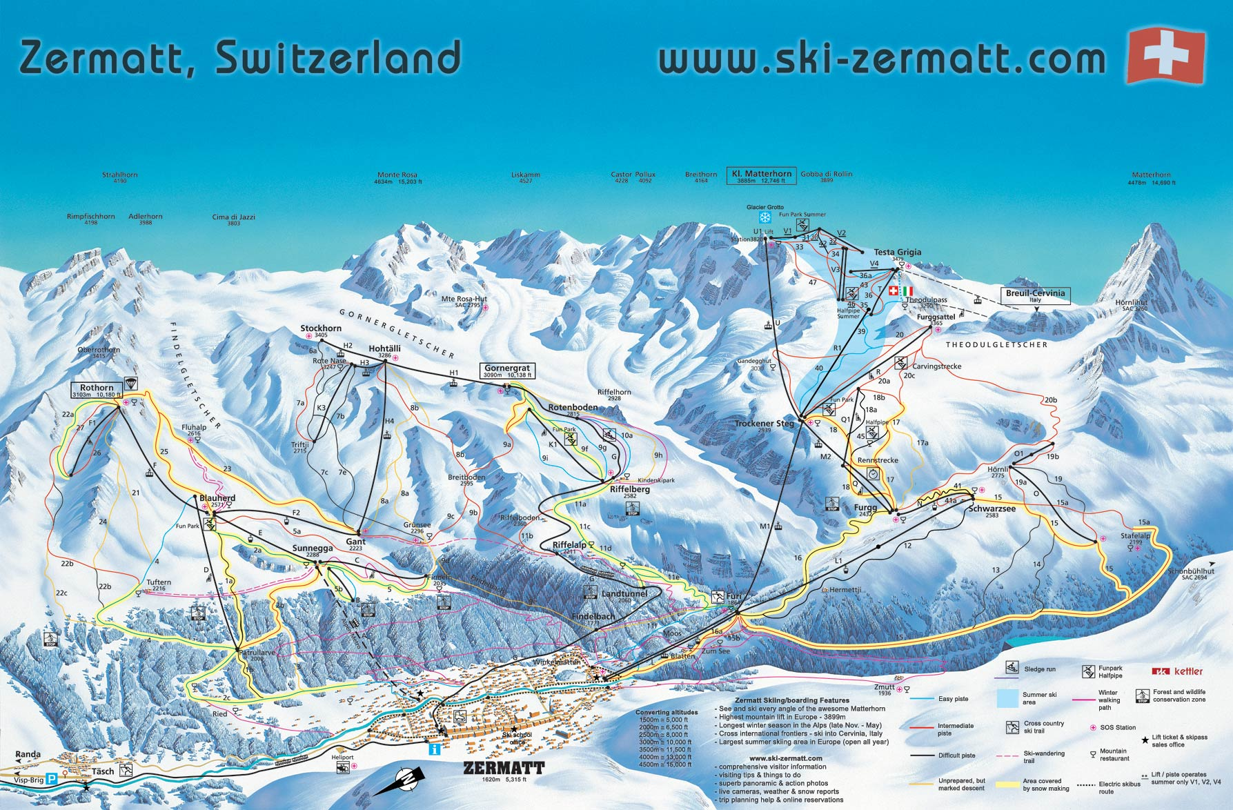 Zermatt Switzerland ski map Zermatt Switzerland mappery