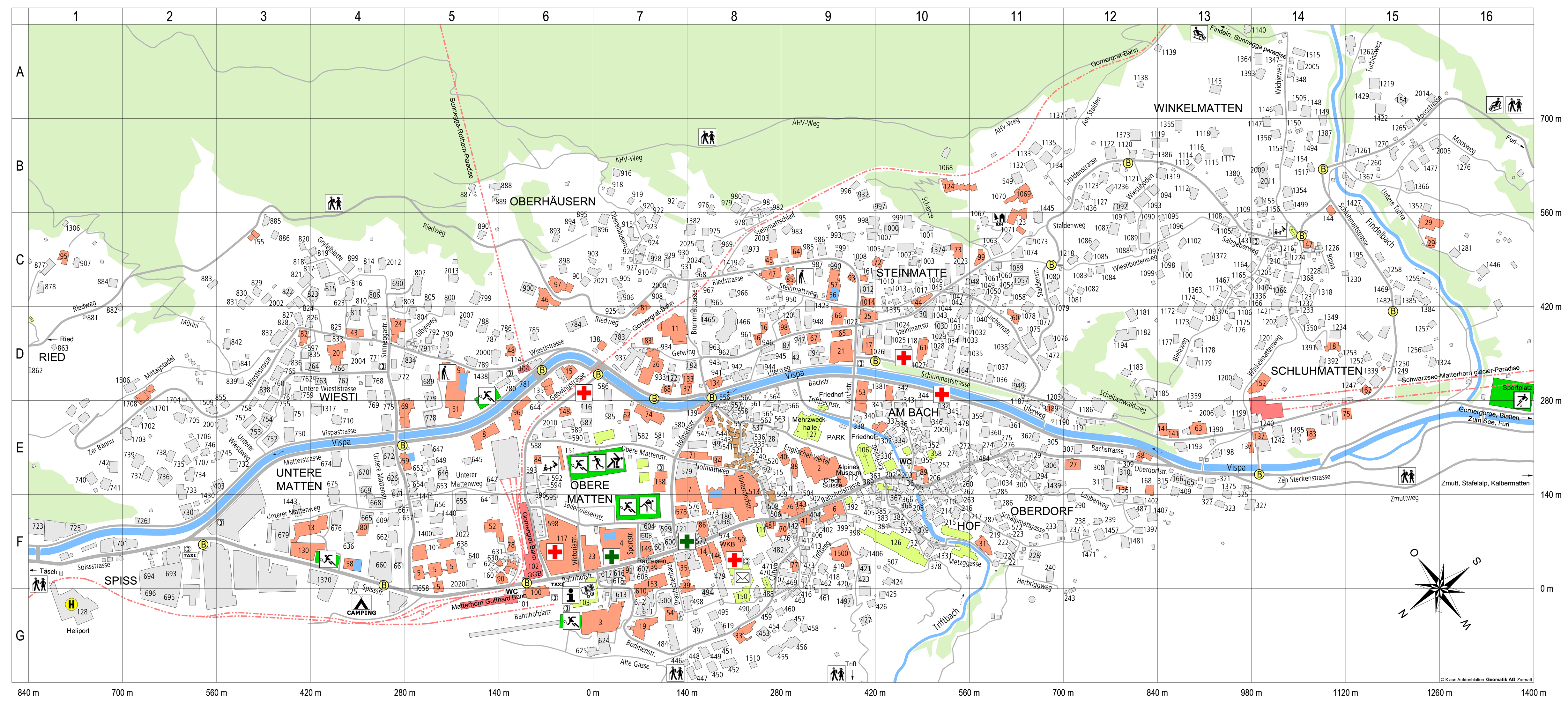 Zermatt tourist map see map details from epic paceinteractive com