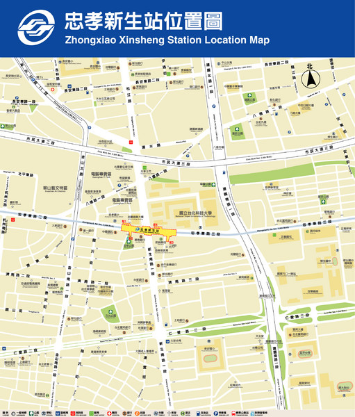 Zhongxiao Xinsheng Station Location Map