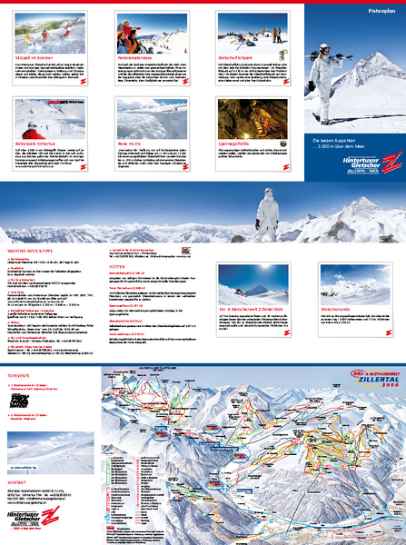 Zillertal 3000 (Hintertux) Ski Trail Map