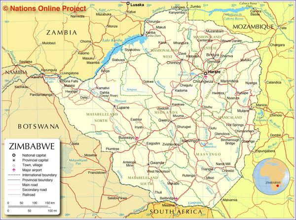 Zimbabwe Tourist Map Zimbabwe mappery