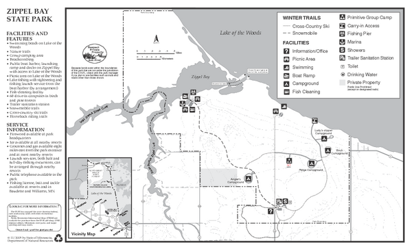 Zippel Bay State Park Winter Map