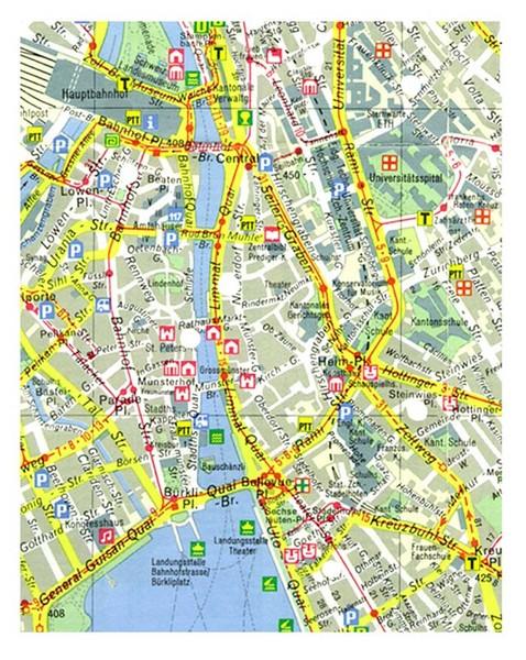 Zurich Switzerland Tourist Map - Zurich • mappery on