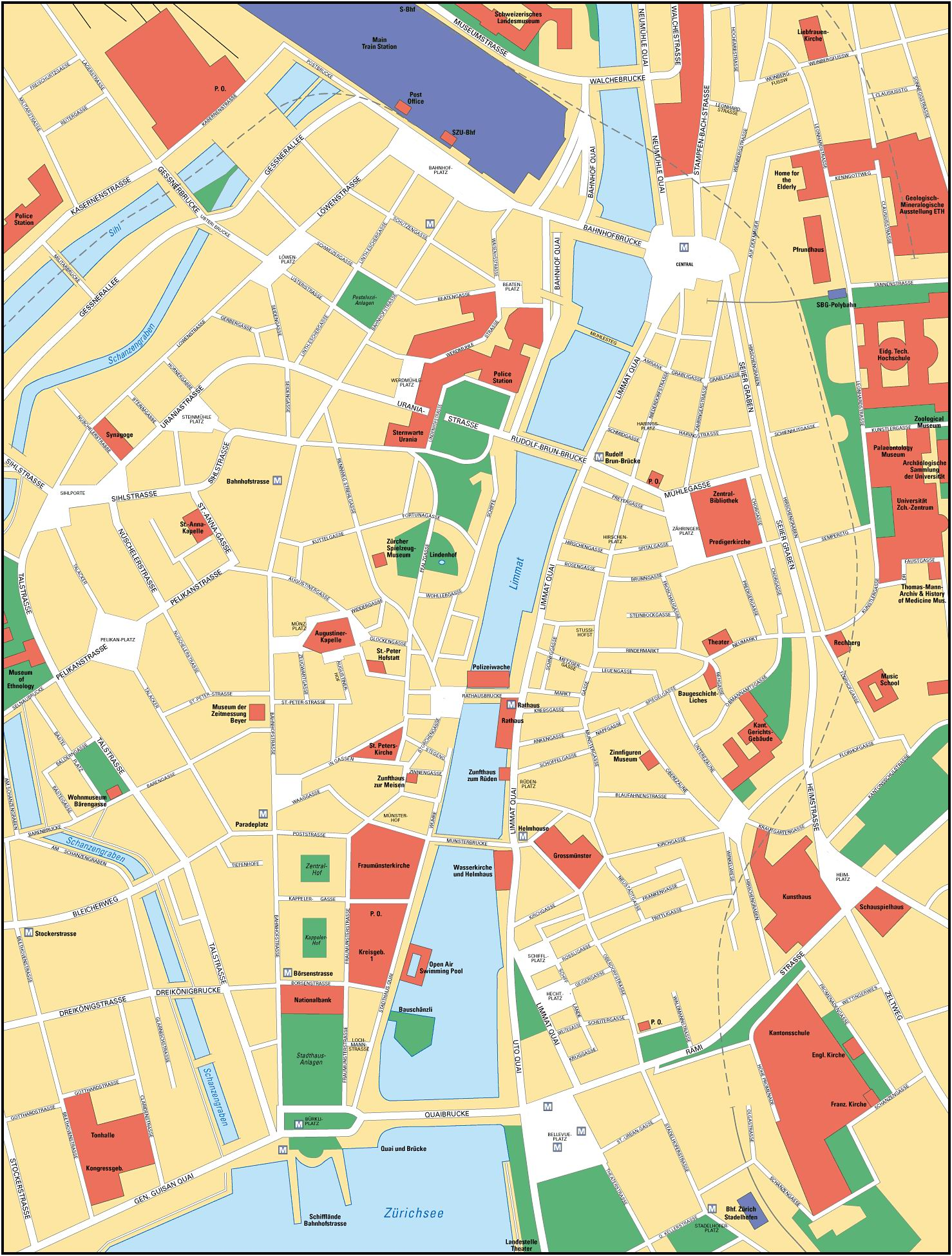 Zurich Switzerland Tourist Map Zurich mappery – Zurich Tourist Map