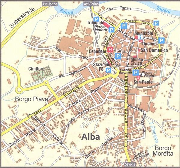 Карта города Альба, Пьемонт, Италия - окрестности Турина - Альба (Alba), Пьемонт, Италия - достопримечательности, карта, маршрут. Что посмотреть вокруг Турина, на юг от Турина. Путеводитель по городам Италии.