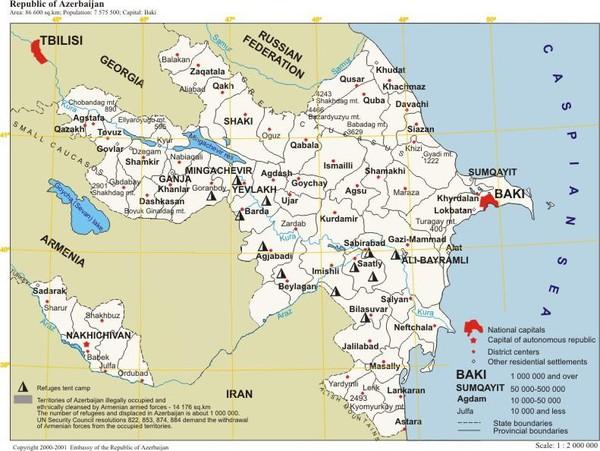 Map Of Azerbaijan Azerbaijan Mappery - Azerbaijan map